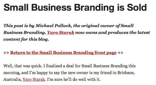 Small Business Branding Is Sold